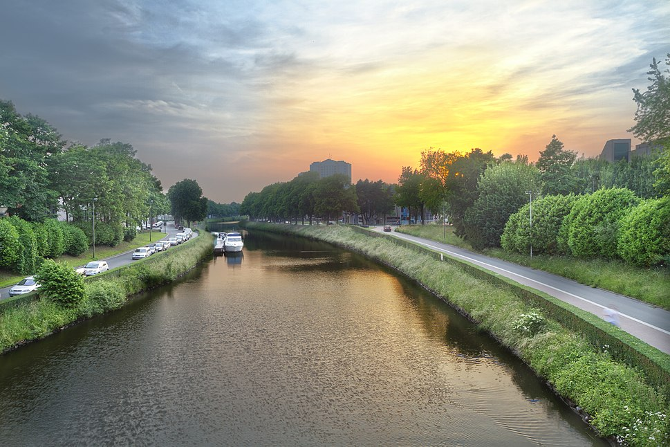 Sunset over a canal in Ghent, Belgium