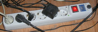 Surge protector - A power bar with built-in surge protector and multiple outlets