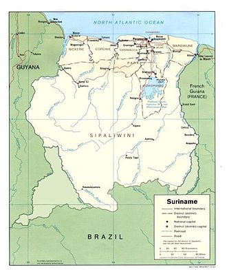 Map of Suriname Suriname with disputed territories.jpg