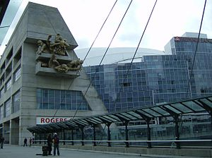 Rogers Centre - A cable-stayed bridge was built over the Union Station Rail Corridor next to the stadium.