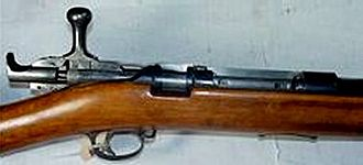 Jarmann M1884 - Closeup of the bolt and receiver of the Jarmann pictured above