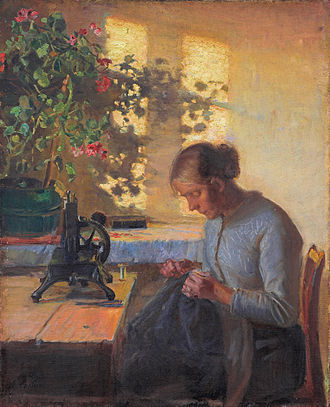 Sewing - Sewing Fisherman´s Wife by Anna Ancher, 1890.
