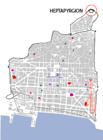 Heptapyrgion (Thessaloniki) - The location of the Heptapyrgion in the old city of Thessaloniki.