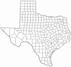 Location of Moulton, Texas