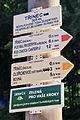 Tabliczki pieszych szlaków turystycznych przy dworcu kolejowym w Trzyńcu.JPG