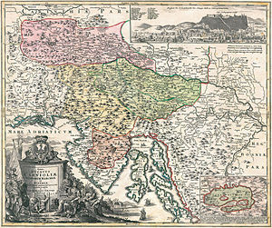 Duchy of Carniola - Historic map of the Carniolan duchy: Upper (pink), Lower (green) and Inner Carniola (yellow) with adjacent Istrian march (orange), Johann Homann, 1714