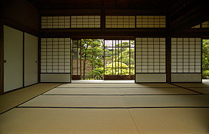 Shōji - Japanese room with sliding shōji doors and tatami flooring
