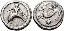 Moneta d'argento di Taranto raffigurante Taras