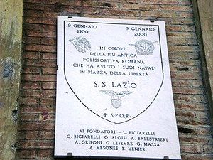 S.S. Lazio - Plaque commemorating the foundation of Lazio at Piazza della Libertà (Roma, Prati).