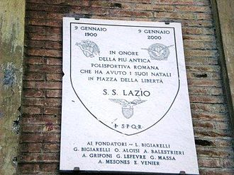 S.S. Lazio - Plaque commemorating the foundation of Lazio at Piazza della Libertà (Roma, Prati)