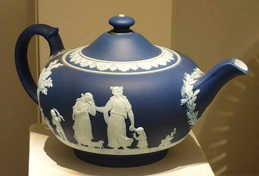 Teapot, Josiah Wedgwood and Sons, c. 1840, blue jasperware - Chazen Museum of Art - DSC01980