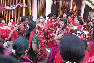 Teej - Women celebrating Teej in Nepal