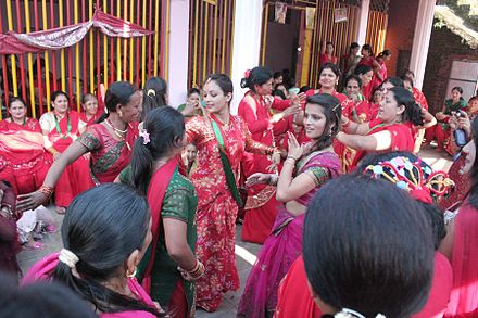 Nepalese women dancing for Teej Teej.jpg
