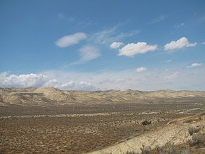 Temblor Range - Southern extreme of the range, looking north, from near Maricopa.