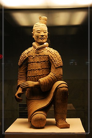 Military history of China before 1911 - A kneeling crossbowman from the Terracotta Army assembled for the tomb complex of Qin Shi Huang (r. 221–210 BC)