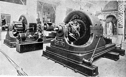 "Westinghouse alternating current polyphase generators on display at the 1893 World's Fair in Chicago, part of their ""Tesla Poly-phase System"". Such polyphase innovations revolutionized transmission Tesla polyphase AC 500hp generator at 1893 exposition.jpg"