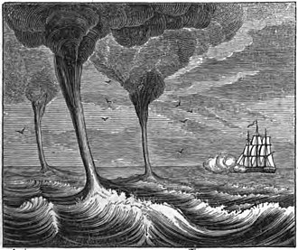 Waterspout - Illustration from the book The Philosophy of Storms, published in 1841.