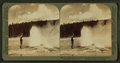 The 'Black Warrior' Geyser waving a banner of steam spray, Yellowstone Park, U.S.A, by Underwood & Underwood.png