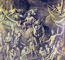 sepia-toned allegorical engraving representing William III's arrival at Tor Bay