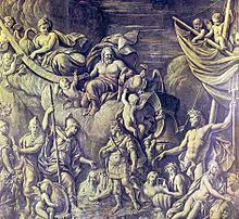Sepia-allegorische Gravur darstellt William III der Ankunft am Tor Bay