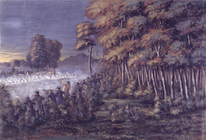 Battle of Crooked River - A painting of the Battle of Crooked River, October 24th 1838
