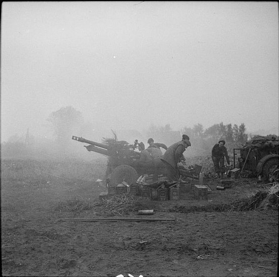25-pdr field guns in action during the advance on Hertogenbosch, 23 October 1944 The British Army in North-west Europe 1944-45 B11197.jpg