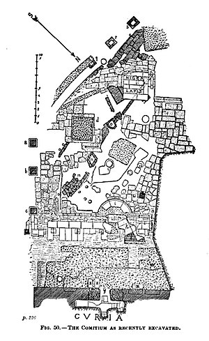 Comitium - Archaeological drawing of the excavations of the comitium in 1899. This is the current level exposed today