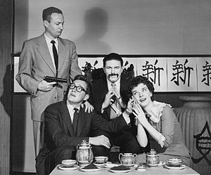 "Joe Mantell - Joe Mantell holds a gun on Orson Bean, Theodore Bikel and Polly Bergen in ""San Francisco Fracas"", an episode of The Elgin Hour (1955)"