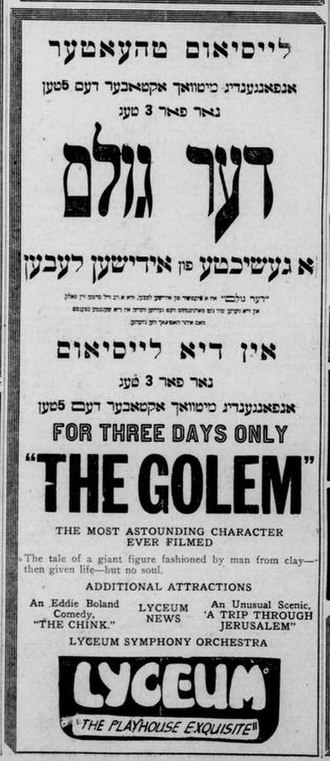 The Golem: How He Came into the World - 1921 American newspaper ad in Yiddish and English