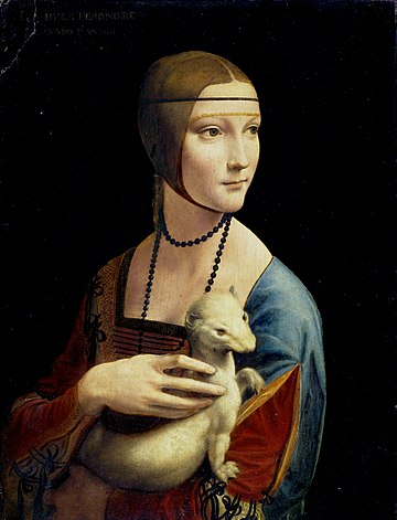 "Lady with an Ermine (1490) by Leonardo da Vinci. Though not Polish in its origin, the painting symbolizes Poland's cultural heritage and is among the country's most precious treasures. Critics named it ""a breakthrough in the art of psychological portraiture."" The Lady with an Ermine.jpg"
