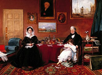 Drawing room - Middle-class drawing room in Blackheath, London, 1841, painted by James Holland