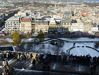 New Town, Edinburgh - View of the New Town from Edinburgh Castle, largely obscured by modern shopping developments