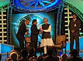The Prime Minister, Dr. Manmohan Singh giving away the CNN-IBN Indian of the Year Award 2009 to A.R. Rahman, at a function, in New Delhi on December 21, 2009.jpg