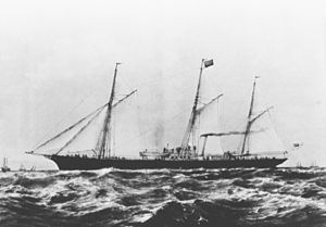 Steam yacht - British yacht Xantha (built 1867) in about 1890