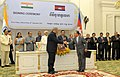 The Vice President, Shri Mohd. Hamid Ansari and the Prime Minister of Cambodia, Mr. Hun Sen witnessing the signing ceremony, in Phonm Penh, Cambodia on September 16, 2015 (1).jpg