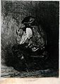 The back of a man sitting by a fire to light his pipe. Etchi Wellcome V0019089.jpg