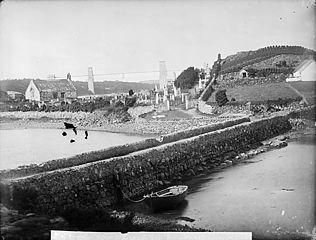 The church, Llandysilio (Anglesey) with Britannia Bridge