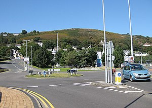 A40 road - The western end of the A40 at Goodwick (the entrance to the Port of Fishguard is at the 3rd roundabout exit on the right)