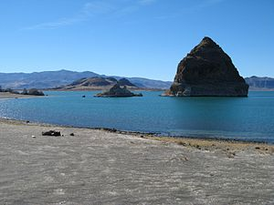 Pyramid Lake (Nevada) - The tufa formation that gives Pyramid Lake its name.