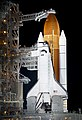 The space shuttle Endeavour is seen on launch pad 39a at Kennedy Space Center in Cape Canaveral, Fla, Thursday, April 28, 2011. Original from NASA. Digitally enhanced by rawpixel. (46300581042).jpg