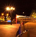 The stainless wall at night outside Sheffield Midland railway station. - geograph.org.uk - 555801.jpg