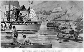 The wounded Alexander passing through his fleet in India by Andre Castaigne (1898-1899).jpg