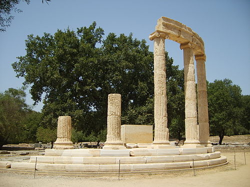 The Philippeion after it had undergone a recent reconstruction Tholos Olympie.JPG