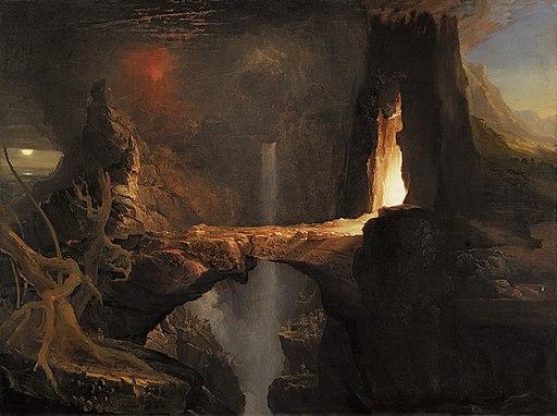 Thomas Cole - Expulsion. Moon and Firelight