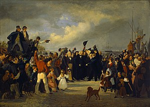 Bertel Thorvaldsen -  Contemporary painting by Fritz Westphal of Thorvaldsen's reception as a national hero on his return to Denmark in 1838.