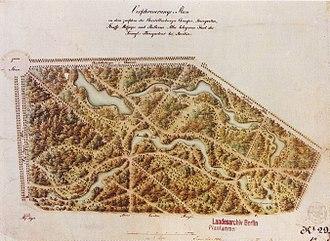 Tiergarten (park) - A park map of 1835 drawn by Peter Joseph Lenné