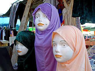 Tira, Israel - Mannequins with traditional Muslim veils at Tira's Saturday's market
