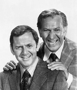 Tony Randall - Randall (left) with Jack Klugman in a publicity photo of The Odd Couple, 1972