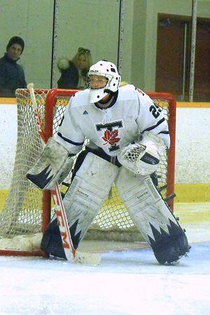 Toronto Varsity Blues women's ice hockey - Blue goalie 2014.