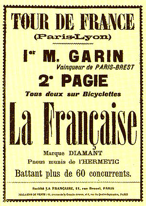 Tour de France 1903. Advertising of the first ...